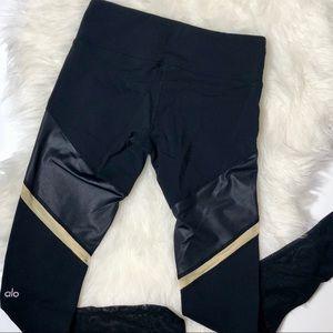 All Yoga Gold Stripe Mesh Black Leggings